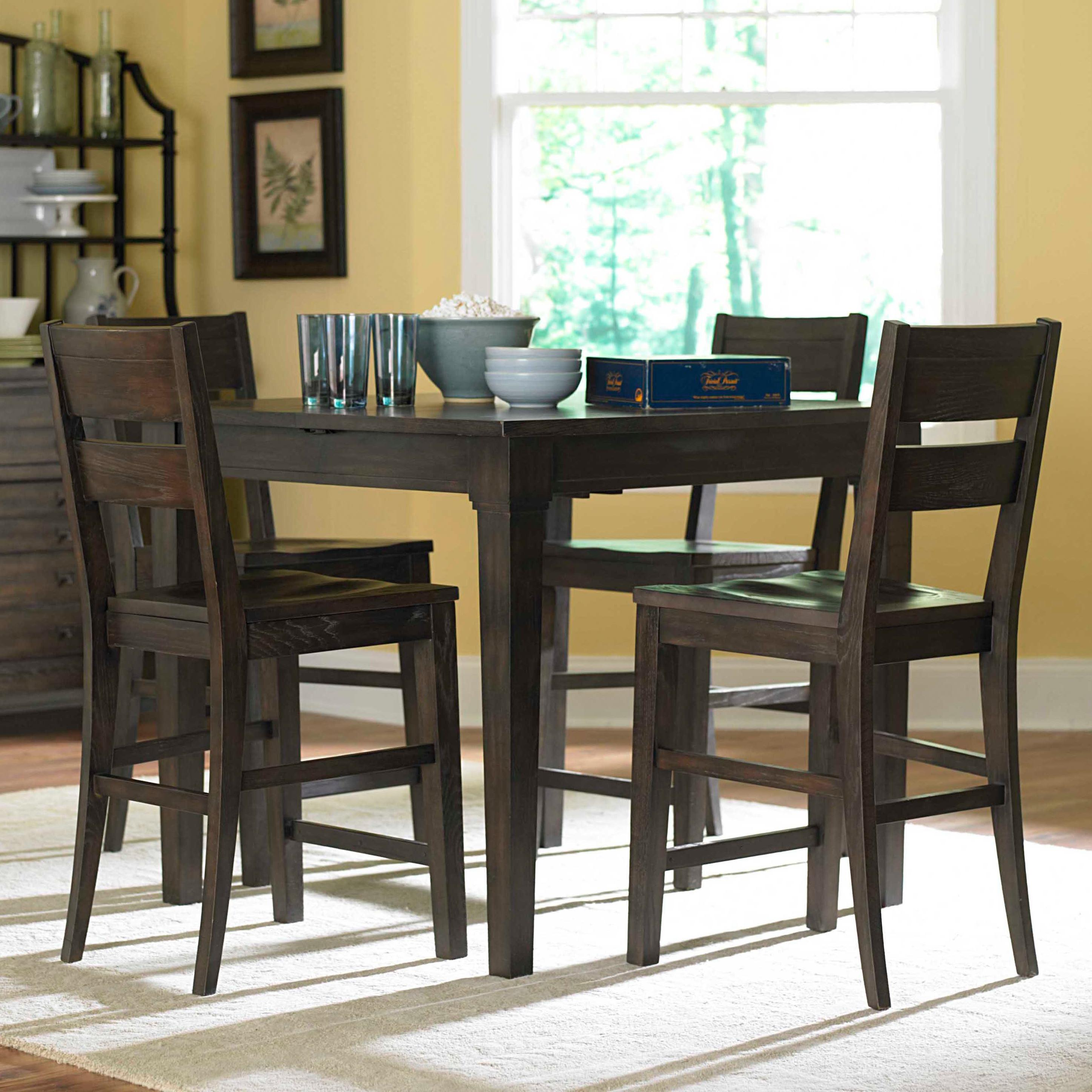 Attic Retreat 5 Piece Counter Table And Ladderback Barstool Set By Broyhill  Furniture