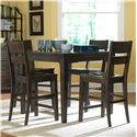 Broyhill Furniture Attic Retreat 5 Piece Counter Table and Ladderback Barstool Set - 4990-522+4x591