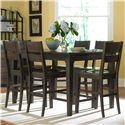 Broyhill Furniture Attic Retreat 7 Piece Counter Table and Ladderback Barstool Set - 4990-522+6x591