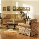 Broyhill Furniture Audrey Traditional Queen Sleeper Sofa - Shown in Room Setting with Chair