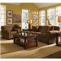 Broyhill Furniture Ava Upholstered Chair with Exposed Wood Feet - 3488-0-8270-65 - Shown with Coordinating Collection Sofa