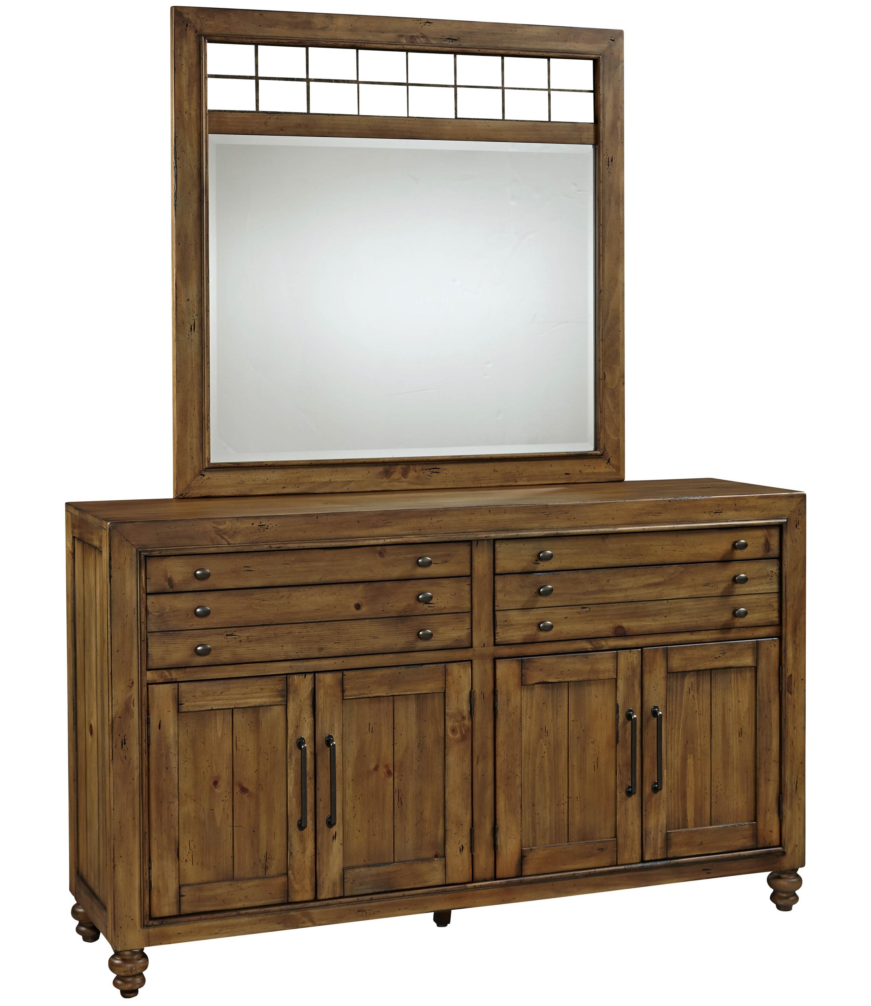 Broyhill Furniture Bethany Square Door Dresser and Landscape Mirror Set - Item Number: 4930-232+6