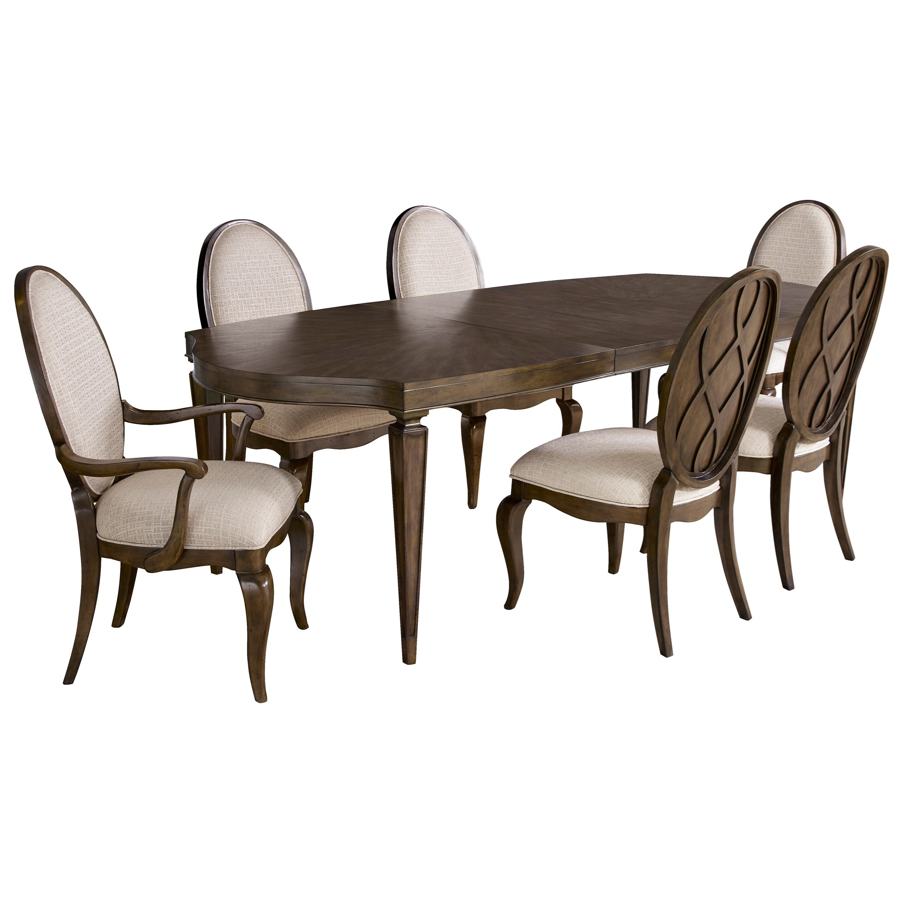 Broyhill Furniture Cashmera 7 Piece Table and Chair Set - Item Number: 4860-532+2x580+4x581