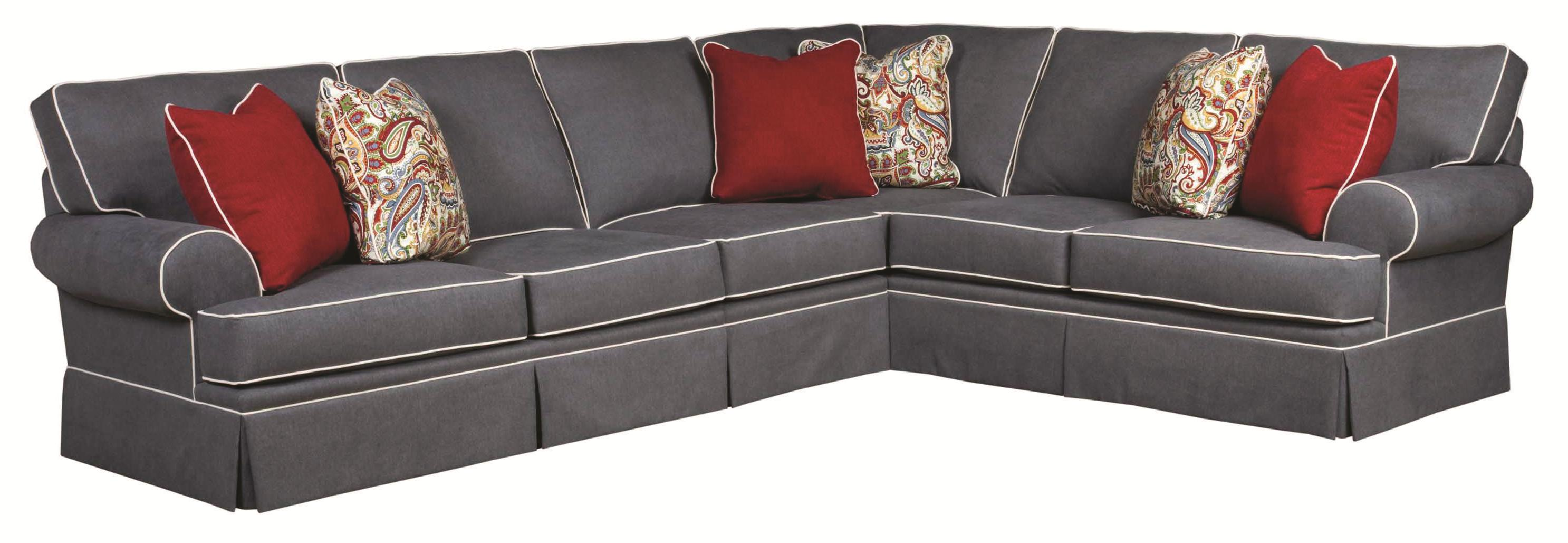 Broyhill Furniture Emily Traditional 3 Piece Sectional Sofa With Skirted  Base   AHFA   Sofa Sectional Dealer Locator