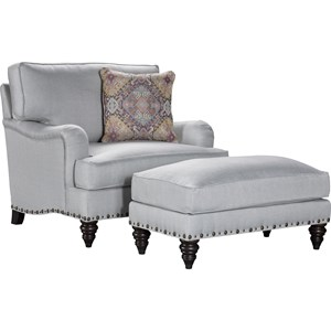 Broyhill Furniture Ester Chair and 1/2 and Ottoman