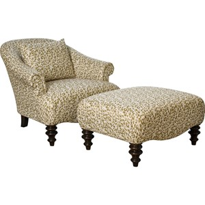 Broyhill Furniture Etta Chair & 1/2 and Ottoman & 1/2