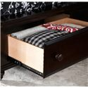 Broyhill Furniture Farnsworth Queen Sleigh Bed with Storage - Detail of Storage Drawer Located in the Footboard