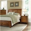 Broyhill Furniture Hayden Place 2 Drawer Nightstand with Felt Lined Top Drawer - Night Stand Shown with Sleigh Headboard, Storage Footboard, and Chest