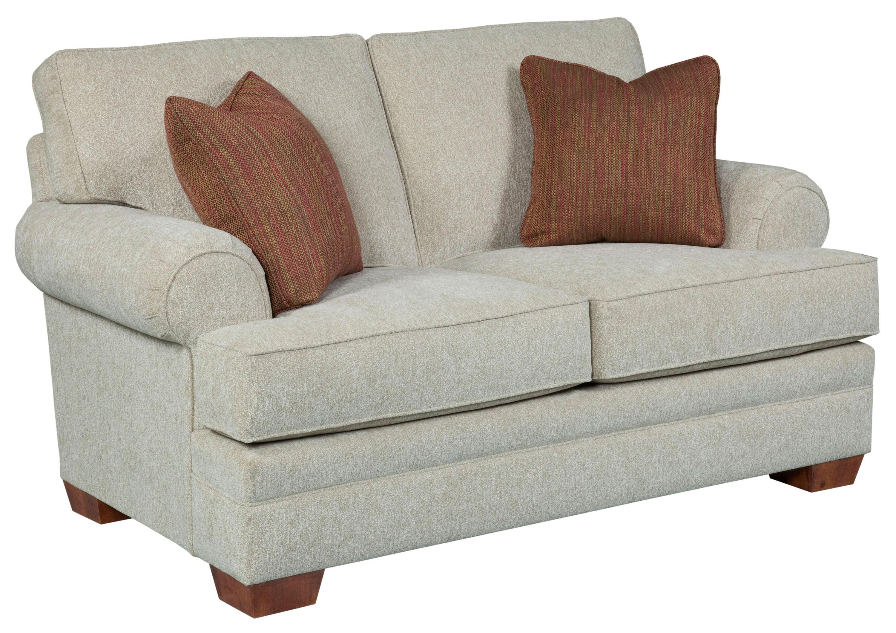 Landon Transitional Stationary Loveseat With Rolled Sock Arms By Broyhill  Furniture