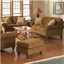 Broyhill Furniture Larissa Upholstered Stationary Sofa with Rolled Arms - Shown with Matching Loveseat and Ottoman. Sofa Shown May Not Represent Exact Features Indicated.