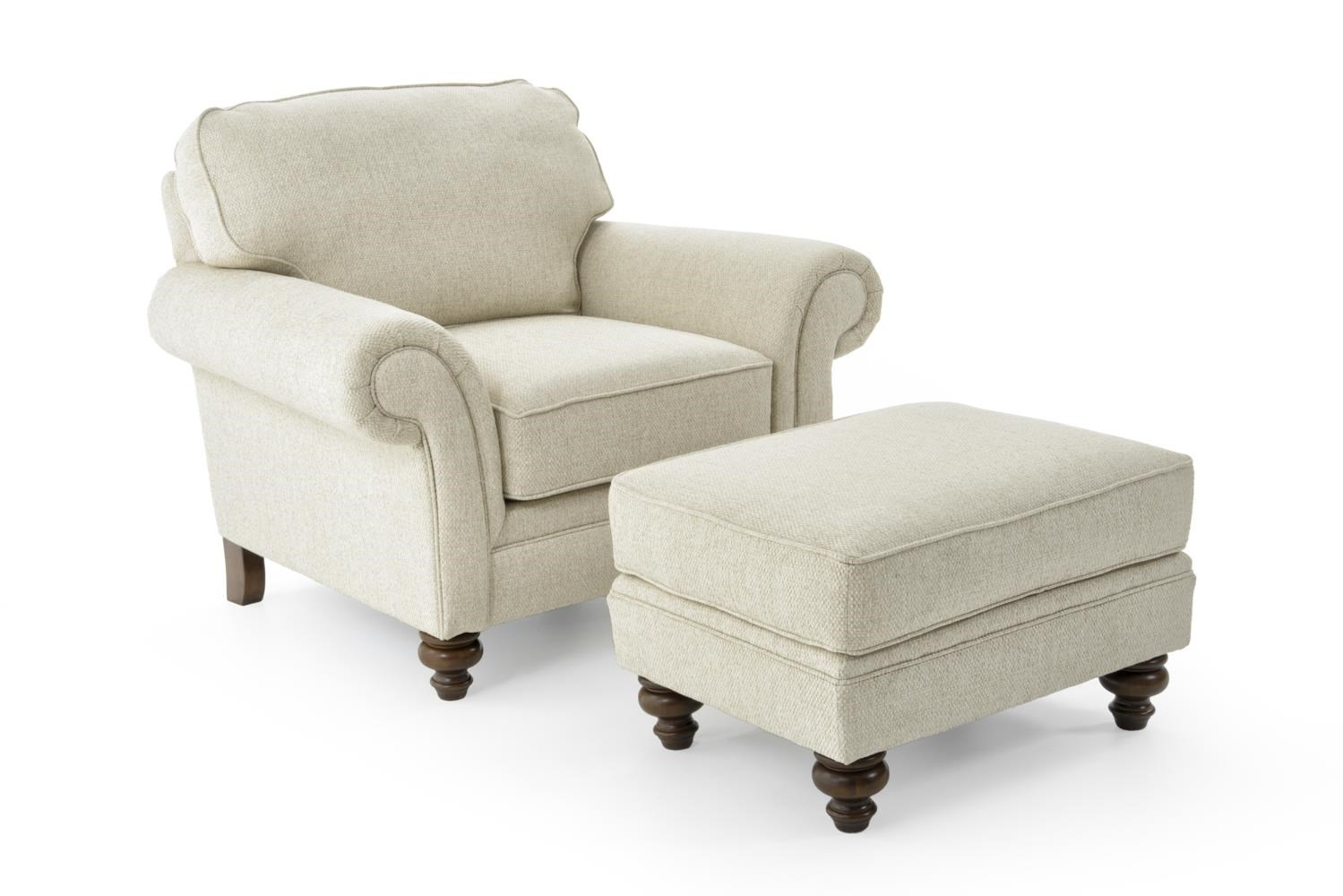 Broyhill Furniture Larissa 6112 5 6112 0 Traditional Stationary Chair And Ottoman With Turned