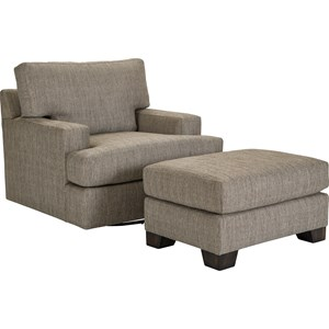 Broyhill Furniture Nash Swivel Chair and Ottoman