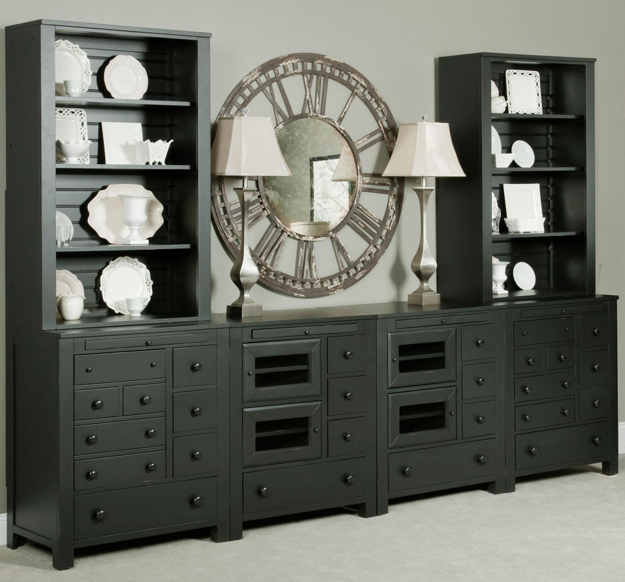 Broyhill Furniture New Vintage Wall Unit - Item Number: 4809-064x2+2x065+2x066