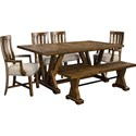 Broyhill Furniture Pieceworks Table and Chair Set with Bench - Item Number: 4546-541+2x580+2x581+595