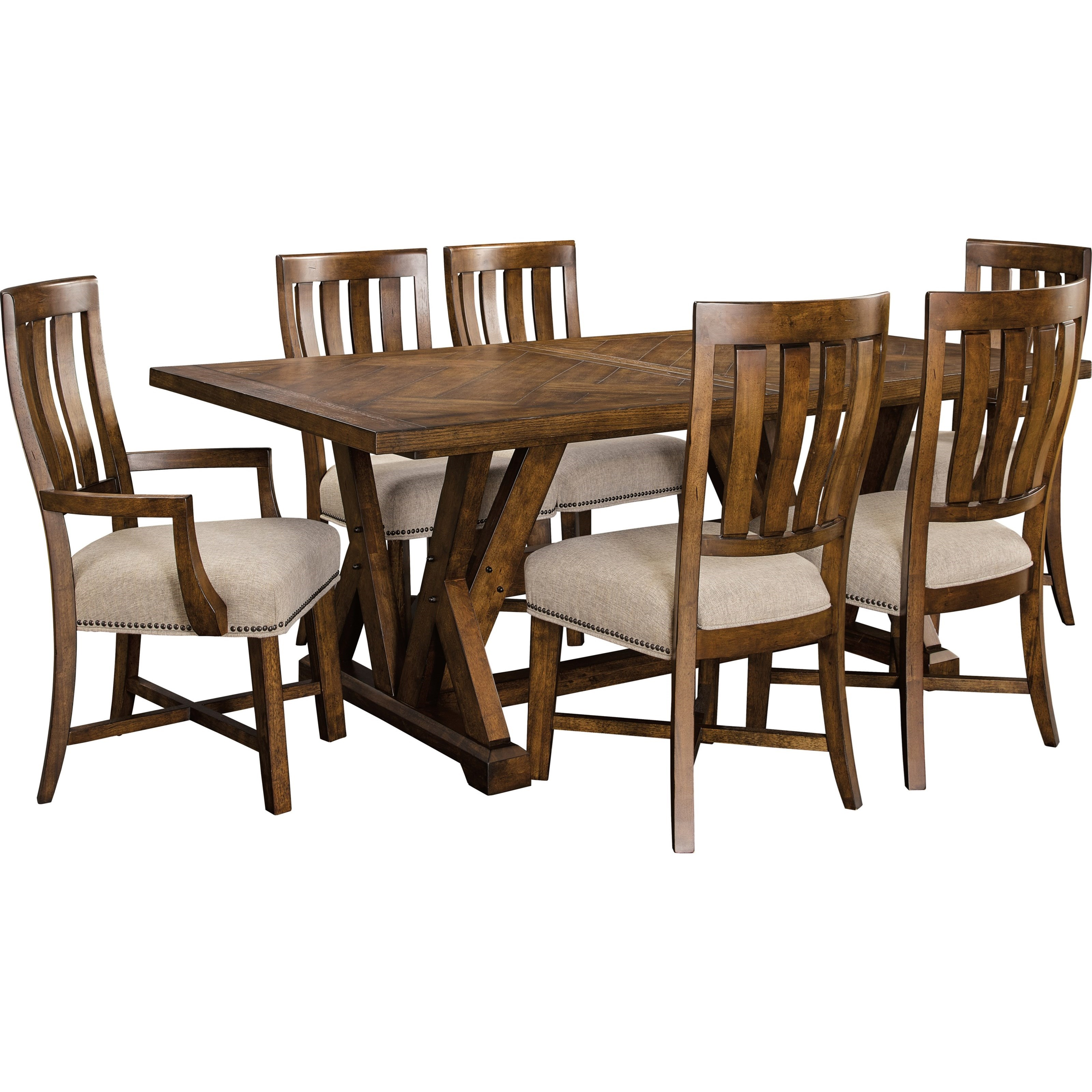 Broyhill Furniture Pieceworks Rustic 7 Piece Trestle Table And Upholstered Seat Chair Set Ahfa
