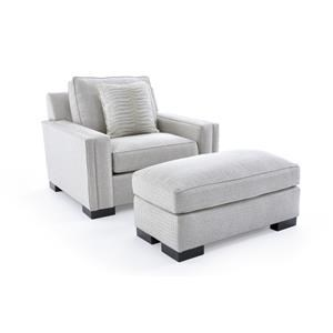 Broyhill Furniture Rocco Chair & 1/2 and Ottoman