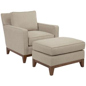 Broyhill designed by GlucksteinHome Suede Quinn Chair and Ottoman