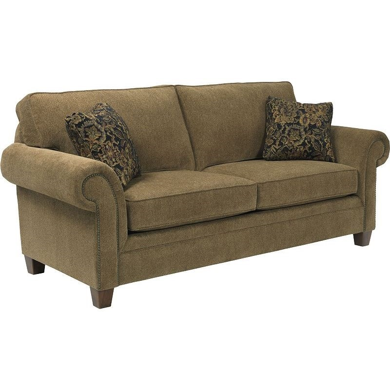 Broyhill Furniture Travis Transitional Sofa With Rolled Arms And Nail Head Trim Accents