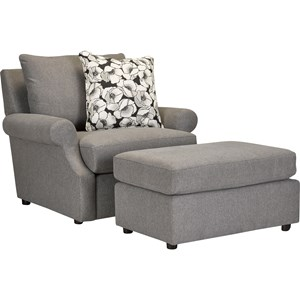 Broyhill Furniture 4416 Chair 1/2 and Ottoman