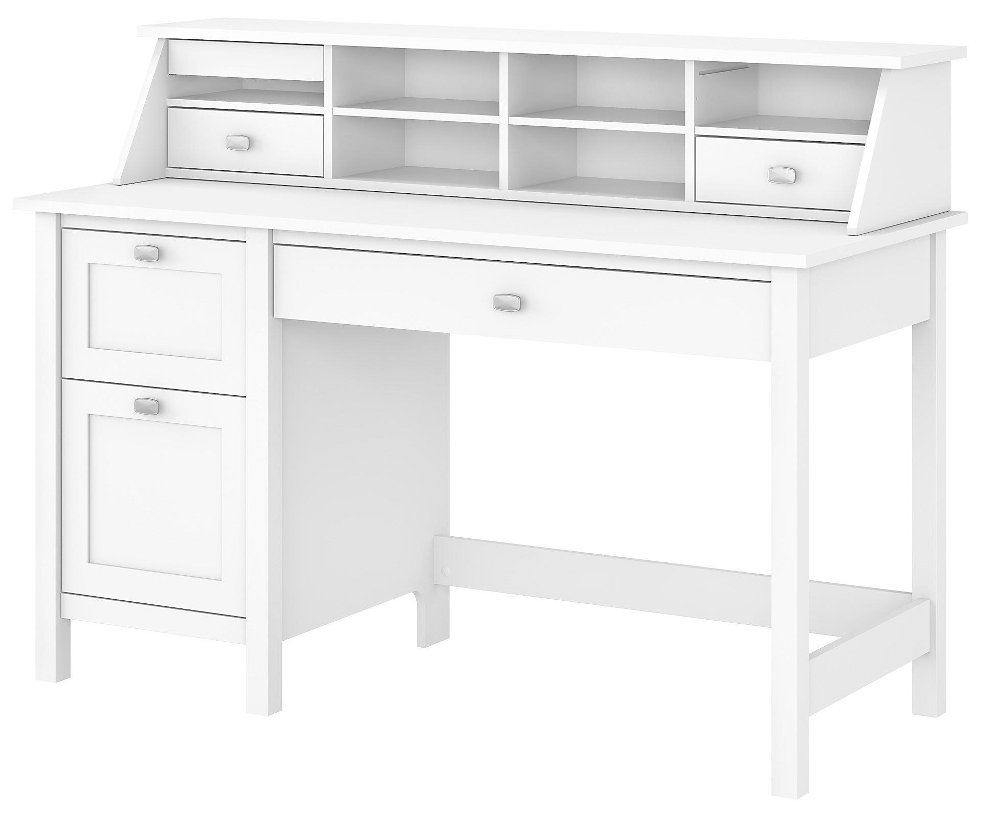 Picture of: Bush Broadview Computer Desk With 2 Drawer Pedestal And Organizer Value City Furniture Single Pedestal Desks