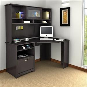 Cabot  Casual Espresso L-Shaped Corner Desk & Storage Hutch by Bush