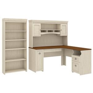 L Shaped Desk with Hutch and Bookcase
