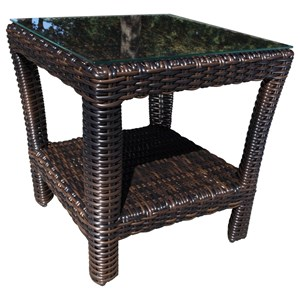 Severn Outdoor Wicker End Table with Glass Top by Cabana Coast