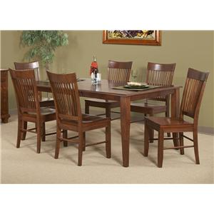 Cal Oak Chapel Hill Six Bent Spindle Side Chairs with Solid Birch Dining Table