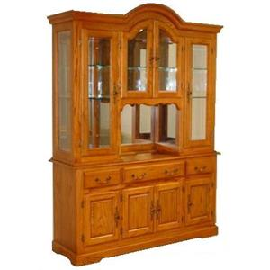 Cal Oak Hudson Valley Bonnet Top Appalachian Red Oak China Cabinet with Beveled Glass