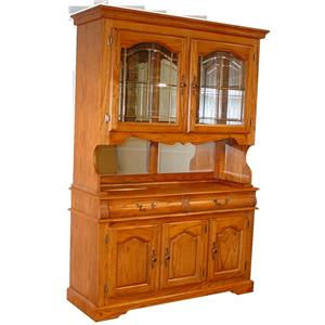Cal Oak Hudson Valley Alachian Red China Cabinet With Beveled Gl