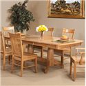 Cal Oak Matrix  Solid Oak Dining Table w/ Leaf - Shown with Spindle Back Chairs
