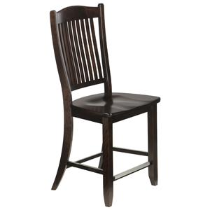 "Canadel Bar Stools Customizable 24"" Wood Seat Fixed Stool"