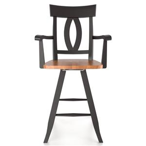 "Canadel Bar Stools <b>Customizable</b> 24"" Swivel Stool w/ Arms"