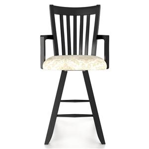 """Canadel Bar Stools Customizable 24"""" Uph Swivel Stool w/ Arms"""