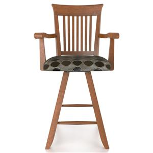 "Canadel Bar Stools Customizable 24"" Uph Swivel Stool w/ Arms"