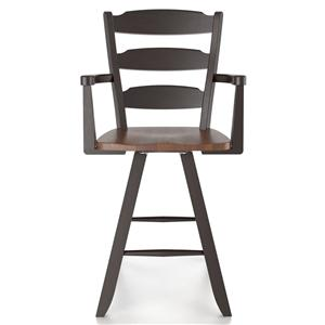 "Canadel Bar Stools Customizable 24"" Swivel Stool w/ Arms"