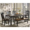 Canadel Champlain - Custom Dining <b>Customizable</b> Rectangular Table Set - Item Number: TRE3878+4xCHA0232+BEN8903
