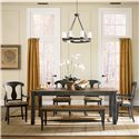 Canadel Champlain - Custom Dining <b>Customizable</b> Rectangular Table Set - Item Number: TRE3878+2xCHA600-WA+2xCHA600+BEN