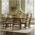 Canadel Champlain - Custom Dining <b>Customizable</b> Round Table Set - Item Number: TRN7272+7xCHA0764