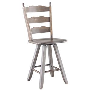 "Canadel Champlain - Custom Dining <b>Customizable 24"" Ladderback Swivel Stool"