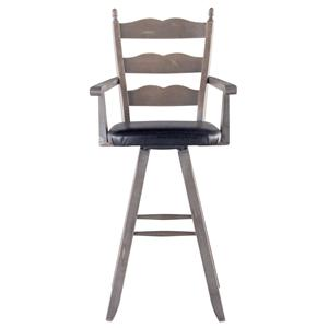 "Canadel Champlain - Custom Dining Customizable 30"" Uph Ladderback Swivel Stool"