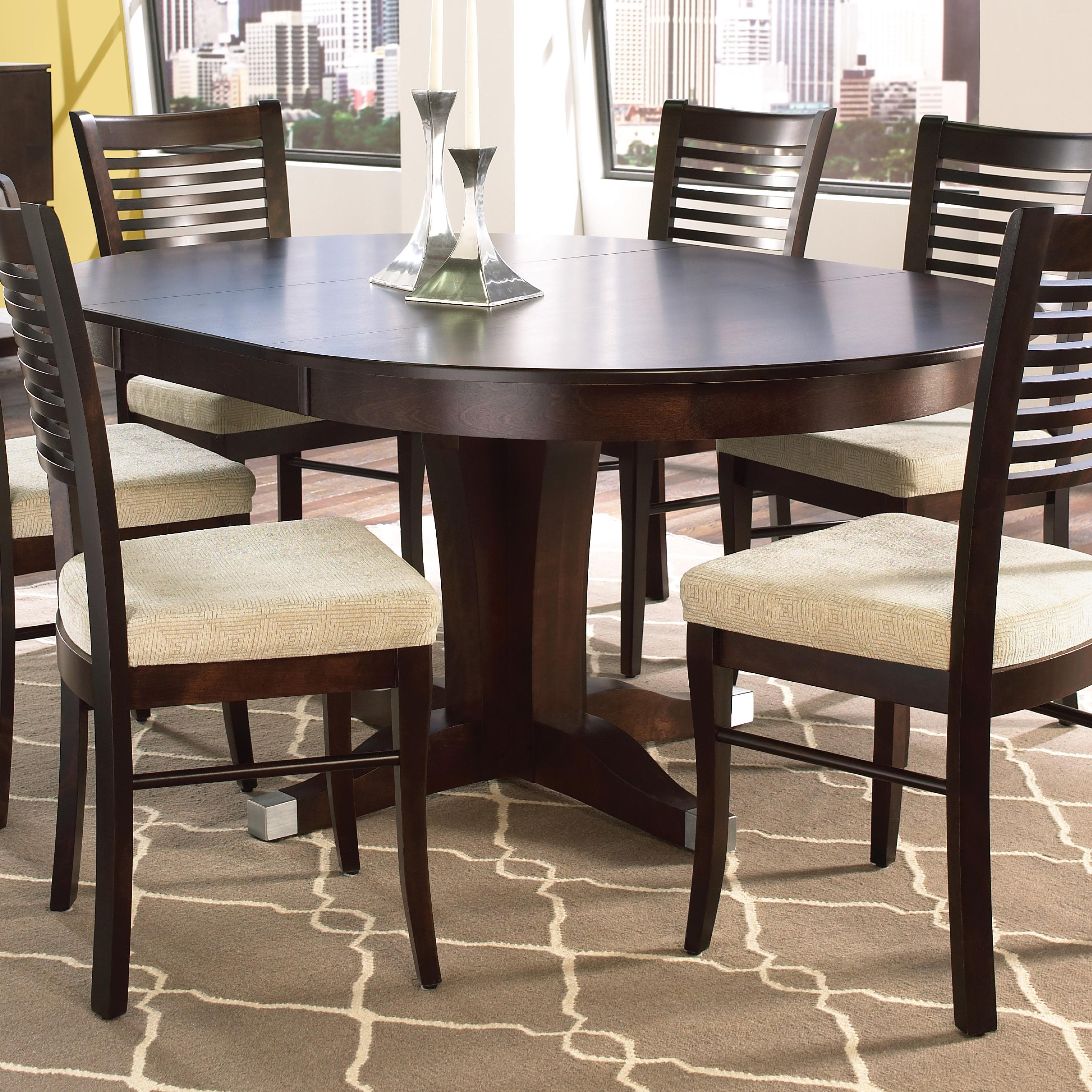 Canadel custom dining customizable round table with pedestal and leaf sheely 39 s furniture - Custom kitchen table ...