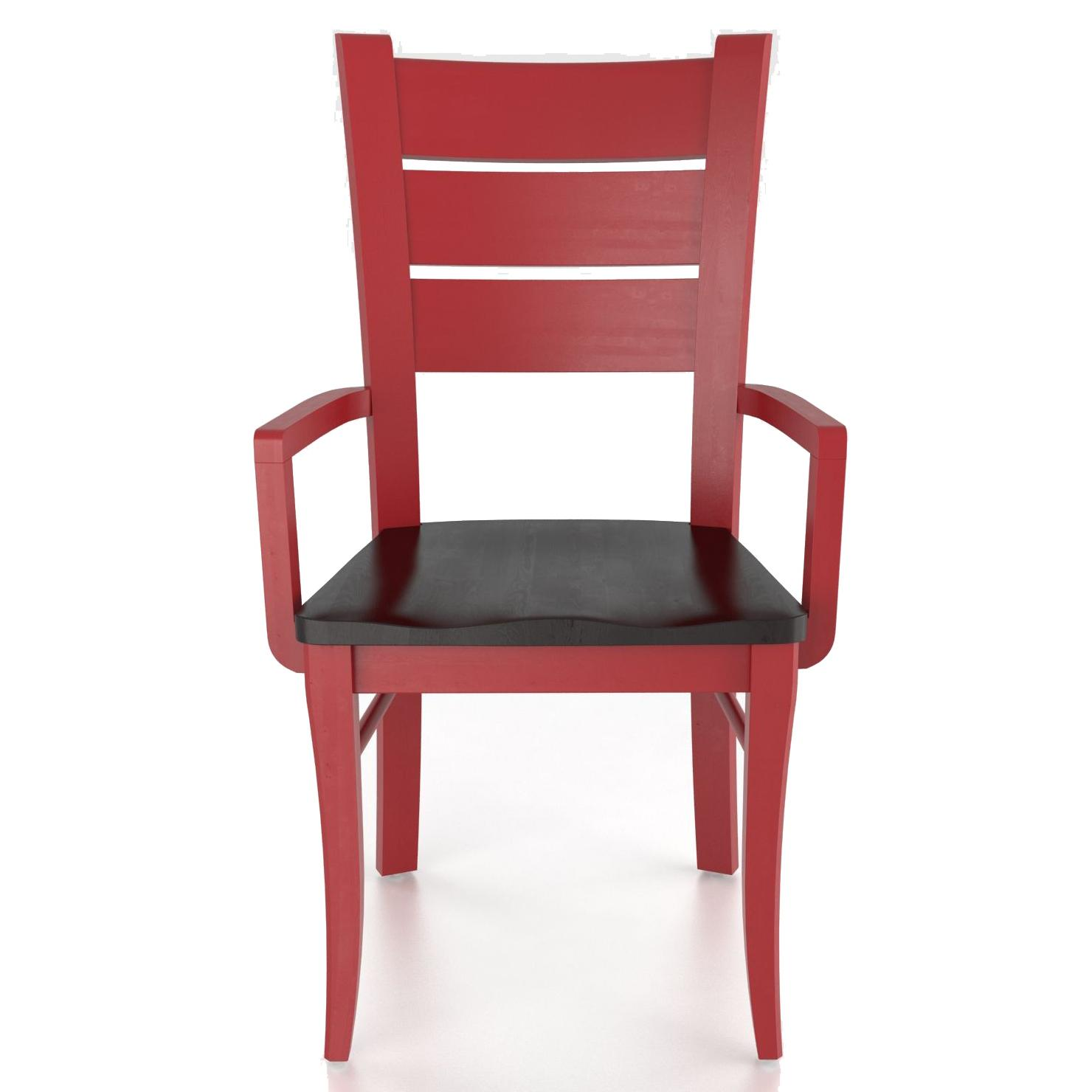 Custom Dining <b>Customizable</b> Arm Chair - Wood Seat by Canadel at Saugerties Furniture Mart