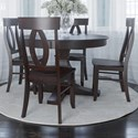 Canadel Core - Custom Dining Customizable 5-Piece Round Dining Table Set - Item Number: TRN4848+BAS+4xCNN0010
