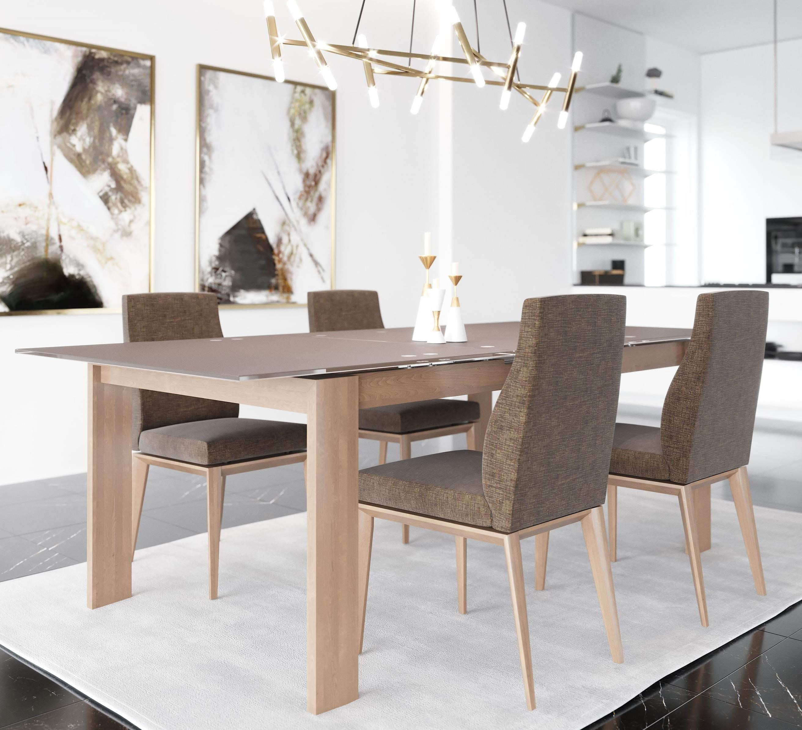 Canadel Downtown Custom Dining Gre03866wb20mdcn1 Customizable Glass Top Dining Table W Self Storing Leaf Becker Furniture Dining Tables
