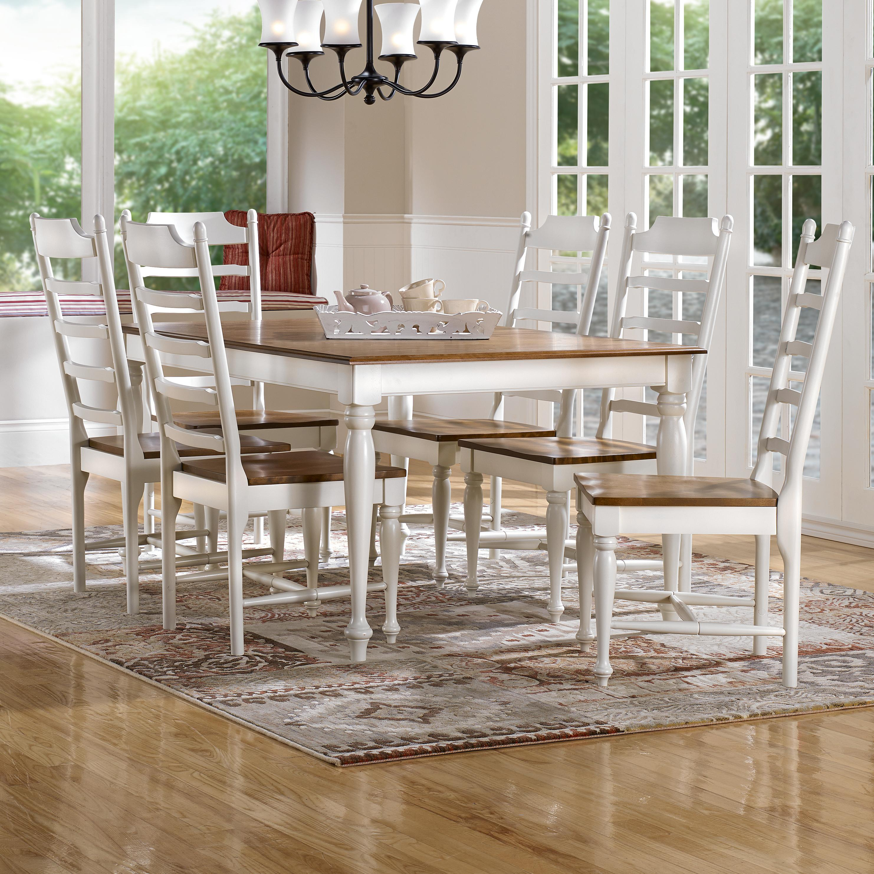 Canadel Gourmet - Custom Dining <b>Customizable</b> Rectangular Table Set - Item Number: TRE04262+6xCHA09001