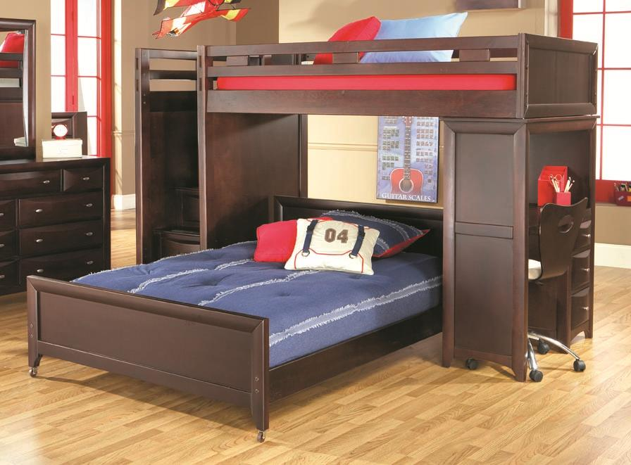 Morris Home Furnishings Canton Canton 7pc Twin Loft Bed with Steps - Item Number: 3290-160/704/730/712/707/90-642(2)