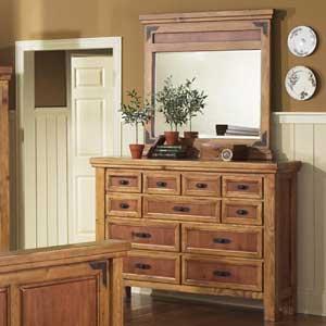 Canyon Rustic Drawer Dresser and Landscape Dresser Mirror