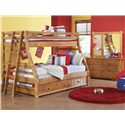 Morris Home Furnishings Cisco Dresser w/ 6 Drawers - Shown in Room Setting with Bunk Bed, Ladder and Landscape Mirror