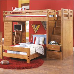 Canyon Creekside Twin Twin Loft Bed W Desk And Storage Stairs